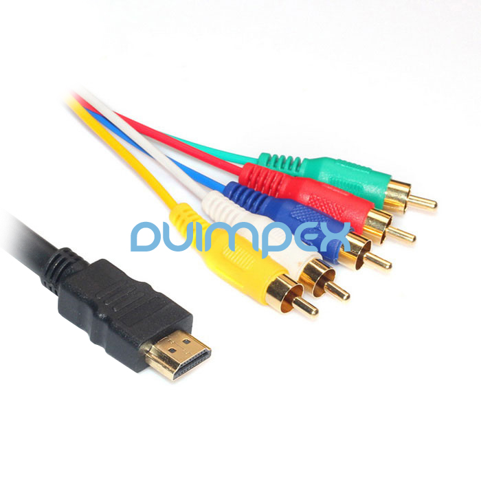 p74 150cm audio video av adapter cinch kabel hdmi stecker zu 5rca f r hdtv 1080p ebay. Black Bedroom Furniture Sets. Home Design Ideas